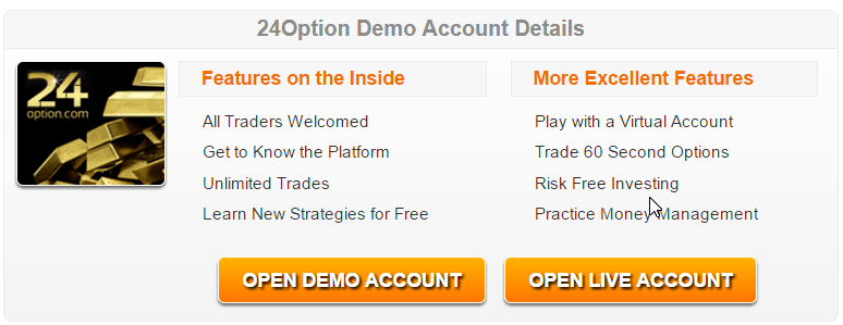 24Option Demo: trading opzioni binarie 24Option conto demo