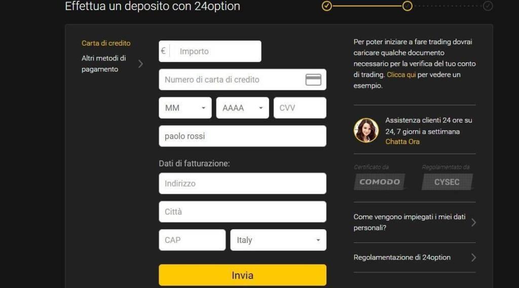 Come aprire un conto di trading online reale su 24Option