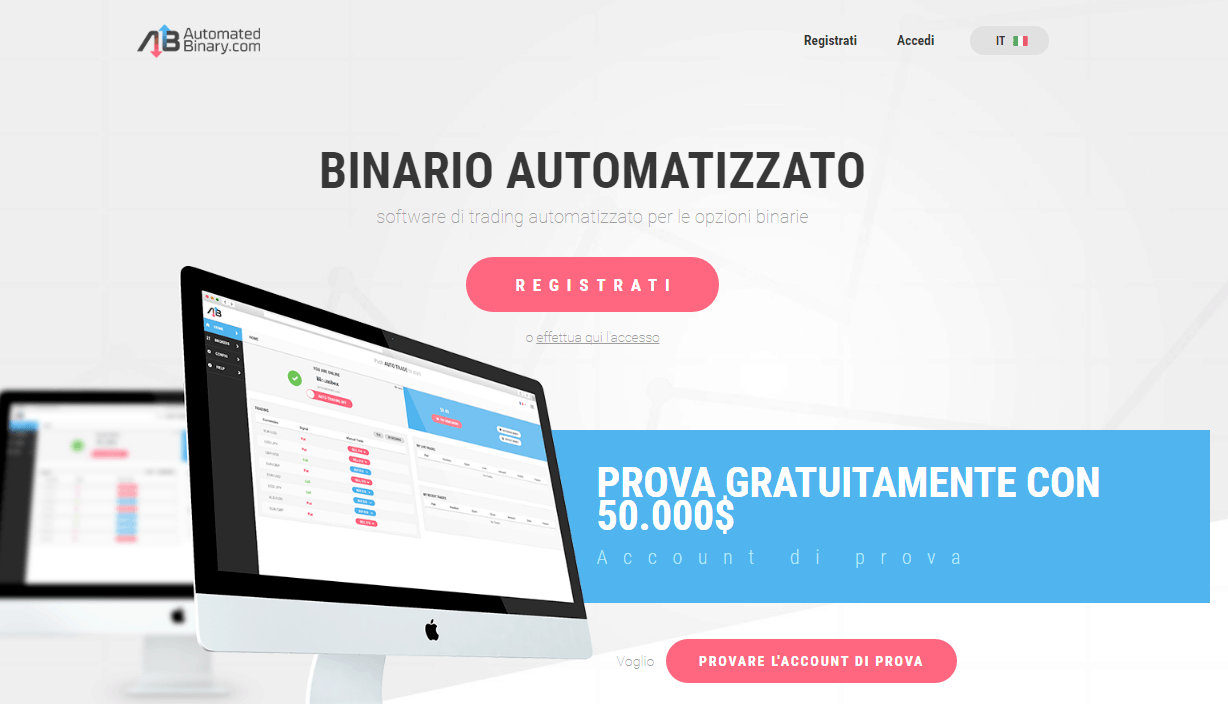 Demo software per opzioni binarie di treading