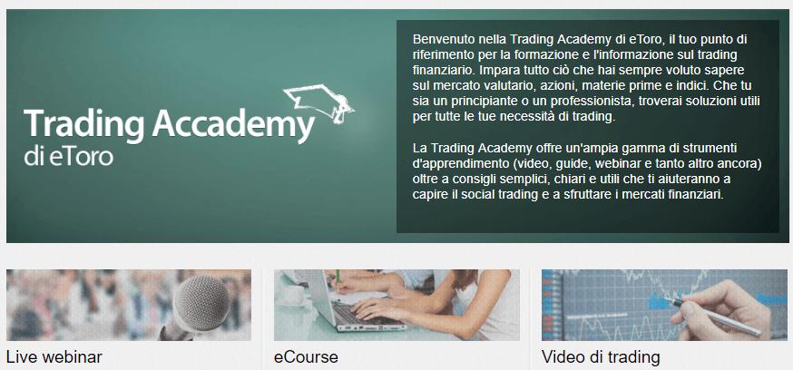 eToro formazione con la Financial Trading Academy