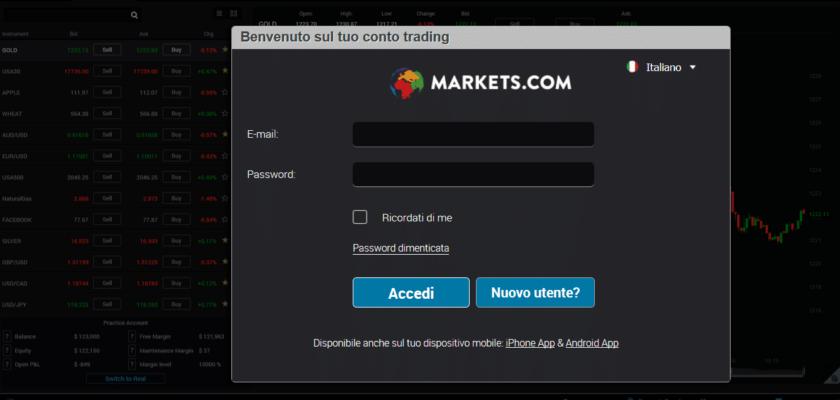 trading bitcoin con m,arkets registrazione apertura account 1