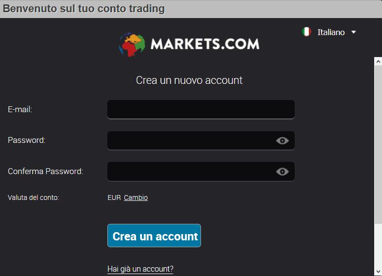 trading bitcoin con m,arkets registrazione apertura account