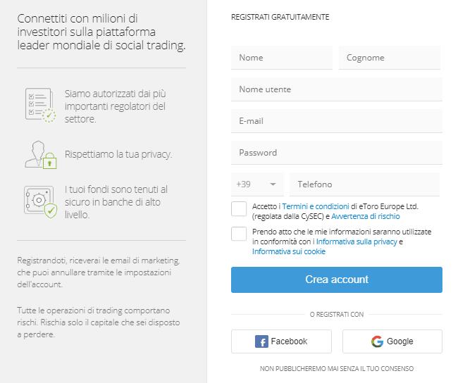 eToro demo: come aprire un conto demo trading su eToro