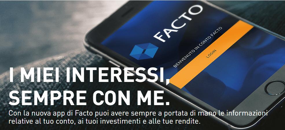 Conto Facto Banca Farmafactoring: conto deposito online