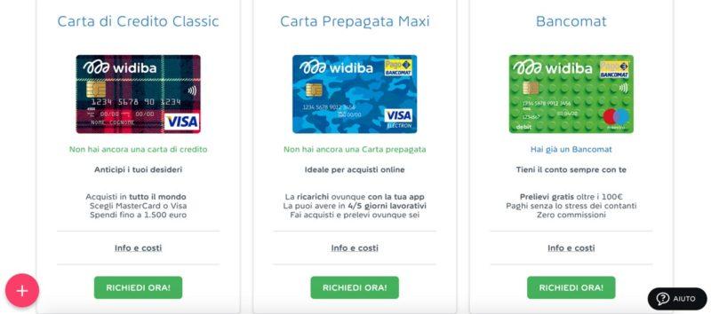conto corrente widiba: carte di credito