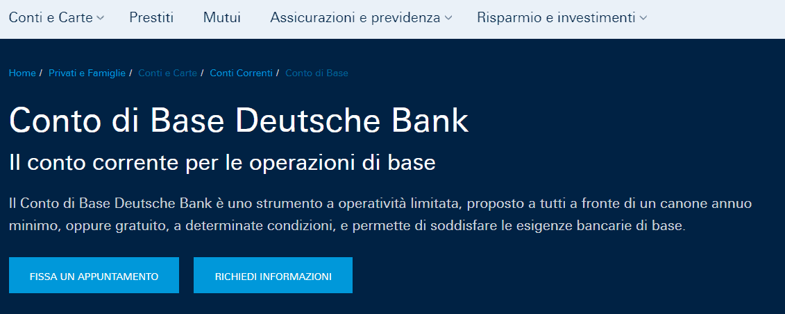 conto di base deutsche Bank