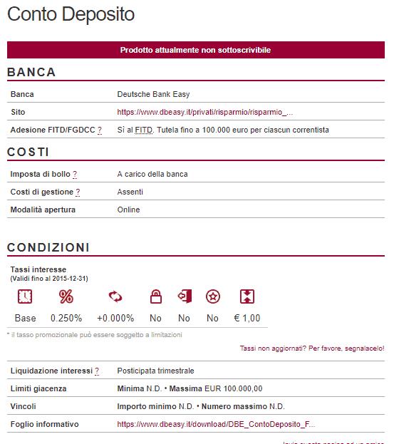 conto easy deutsche Bank caratteristiche