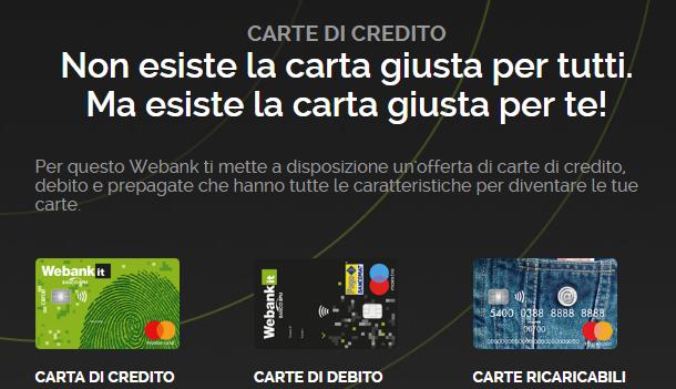 carte di credito conto webank