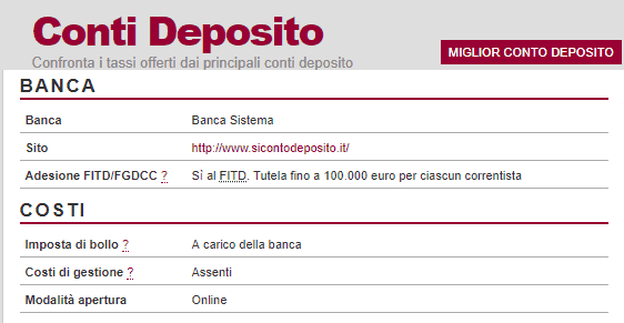 Sì Conto Deposito di Banca Sistema