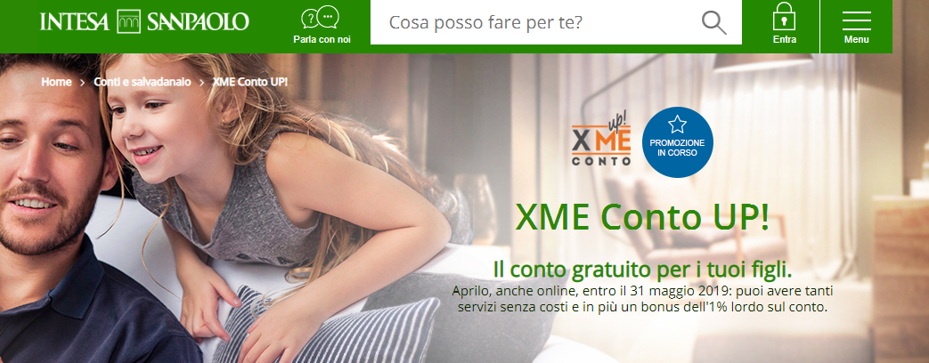 xme conto UP! intesa sanpaolo