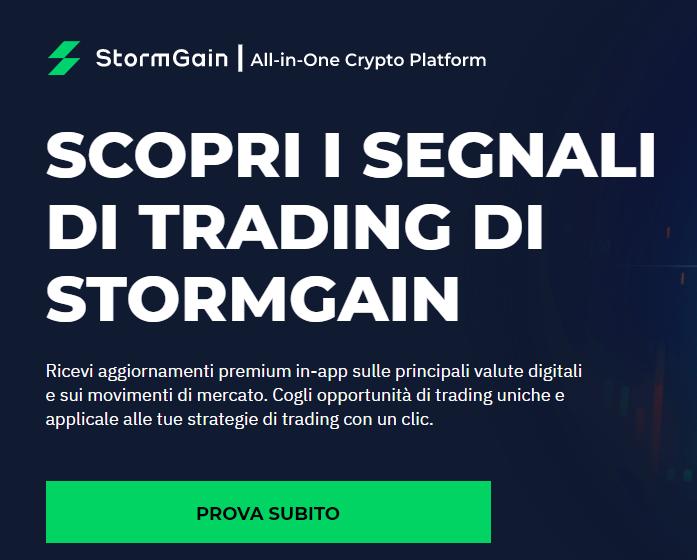 StormGain segnali di trading